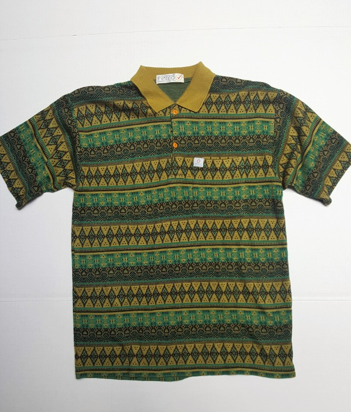 ferro vintage knit polo in green pattern