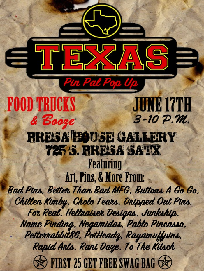 flyer for pin pop up june 17th in san antonio texas