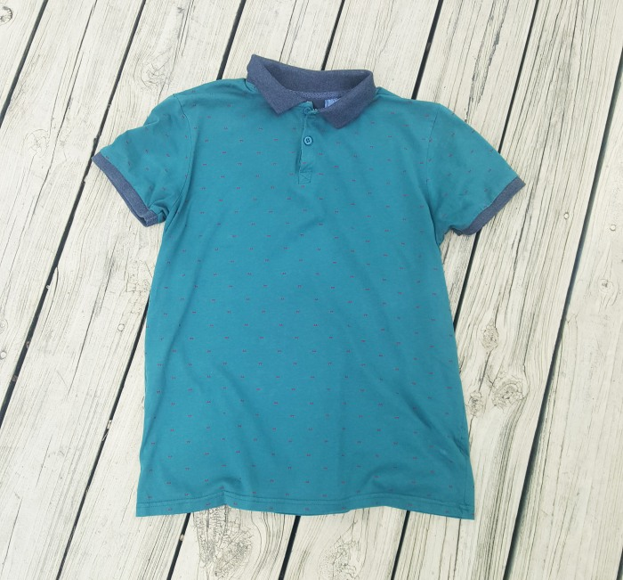 blue-green and gray cotton on polo