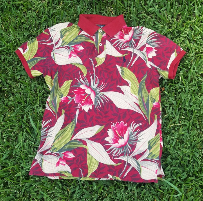 ralph lauren dark red polo with green and fuchsia floral print