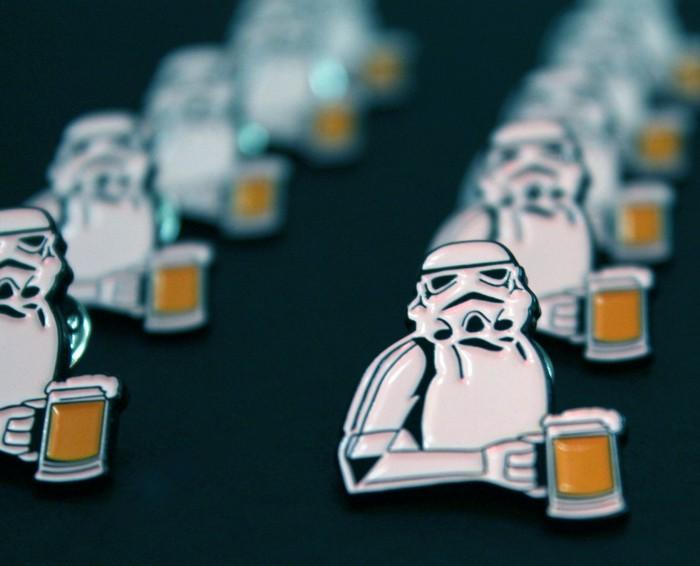 storm trooper holding a full beer mug